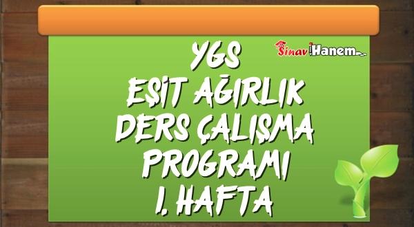Ygs Eşit Ağırlık Tm Ders Çalışma Programı Hafta: 1