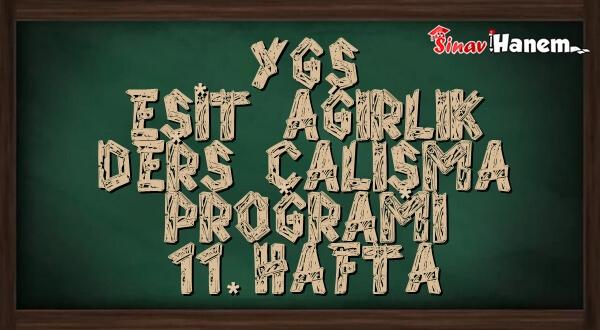 Ygs Eşit Ağırlık Tm Ders Çalışma Programı Hafta: 11