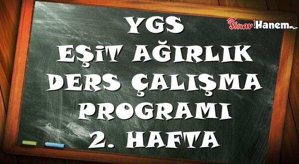 Ygs Eşit Ağırlık Tm Ders Çalışma Programı Hafta: 2