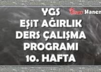 Ygs Eşit Ağırlık Tm Ders Çalışma Programı Hafta: 10
