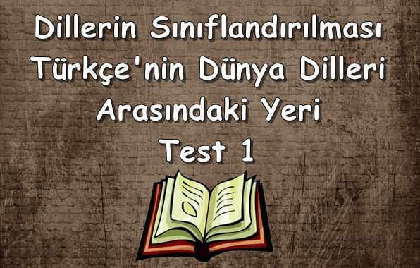 Dillerin Sınıflandırılması ve Türkçe'nin Dünya Dilleri Arasındaki Yeri Test 1