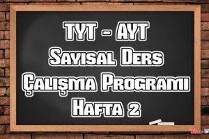 YKS (Tyt – Ayt) Sayısal (MF) Ders Çalışma Programı Hafta 2