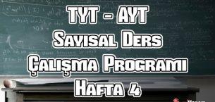 YKS (Tyt – Ayt) Sayısal (MF) Ders Çalışma Programı Hafta 4
