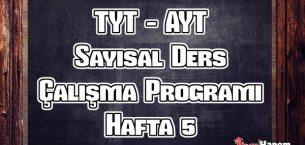 YKS (Tyt – Ayt) Sayısal (MF) Ders Çalışma Programı Hafta 5