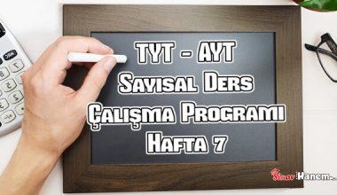 YKS (Tyt – Ayt) Sayısal (MF) Ders Çalışma Programı Hafta 7