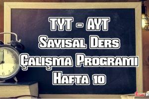 YKS (Tyt – Ayt) Sayısal (MF) Ders Çalışma Programı Hafta 10