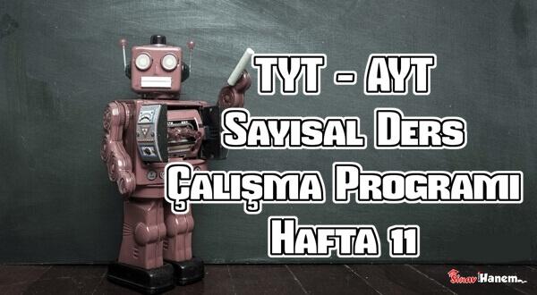 YKS (Tyt – Ayt) Sayısal (MF) Ders Çalışma Programı Hafta 11