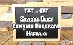 YKS (Tyt – Ayt) Sayısal (MF) Ders Çalışma Programı Hafta 8