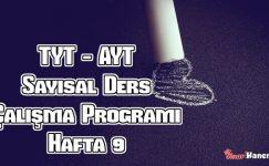 YKS (Tyt – Ayt) Sayısal (MF) Ders Çalışma Programı Hafta 9