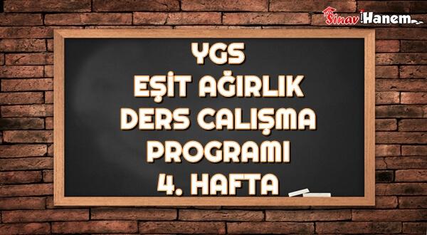 Ygs Eşit Ağırlık Tm Ders Çalışma Programı Hafta: 4