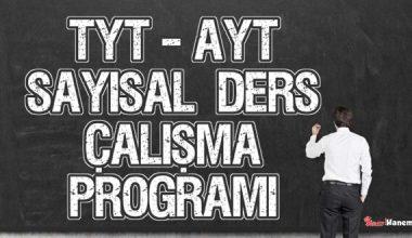 YKS (Tyt – Ayt) Sayısal (MF) Ders Çalışma Programı 2020-2021