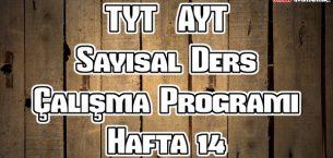 YKS (TYT – AYT) Sayısal (MF) Ders Çalışma Programı Hafta 14