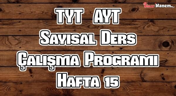 YKS (TYT – AYT) Sayısal (MF) Ders Çalışma Programı Hafta 15
